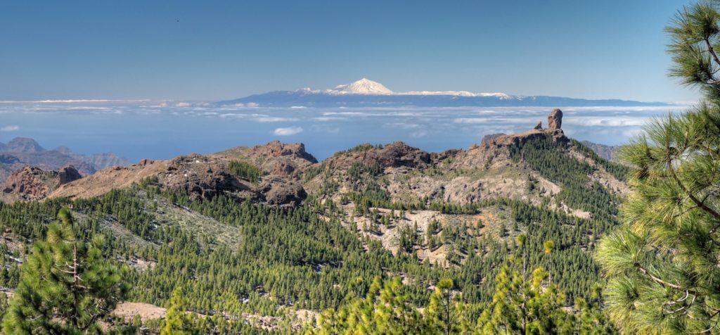 Der schneebedeckte Teide, der Kiefernwald und Roque Nublo im Zentrum von Gran Canaria vom Pico de las Nieves aus gesehen.